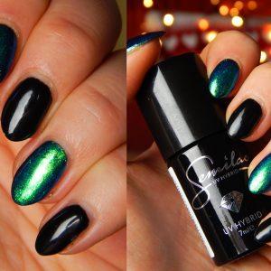 Manicure ściągany – Semilac 031 Black Diamond i szmaragdowa syrenka Indigo