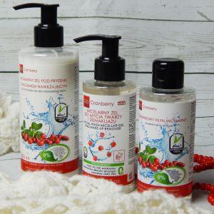 Żurawinowe trio oczyszczające – GoCranberry płyn micelarny, żel micelarny i żel pod prysznic