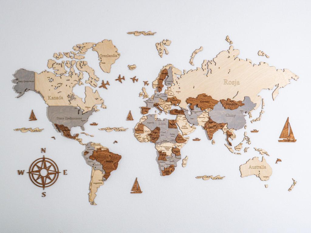 mapa świata 3d drewniana losokawood